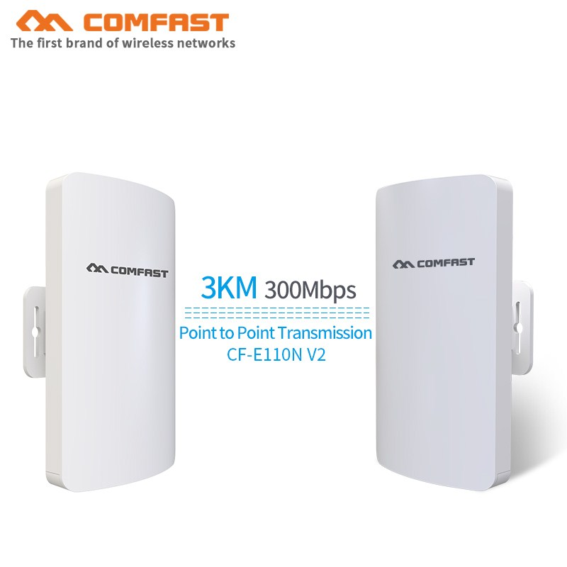2PCS Comfast 300Mbps Mini Outdoor Wireless Cpe Wifi Extender Repeater Network Bridge 3km Point To Point Receiver Antenna Router