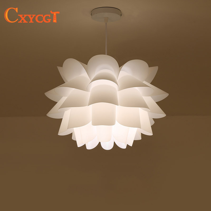 DIY Lily Lotus IQ Puzzle Pendant Lampshade E27 pendant light Cafe Restaurant Ceiling Room Decoration LED Hanging Lamp modern e27 led bulb lotus shape chandelier pendant ceiling lamp shade hanging light lampshade diy home living room bedroom decor