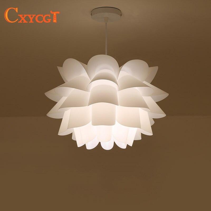 DIY Lily Lotus IQ Puzzle Pendant Lampshade E27 pendant light Cafe Restaurant Ceiling Room Decoration LED Hanging Lamp