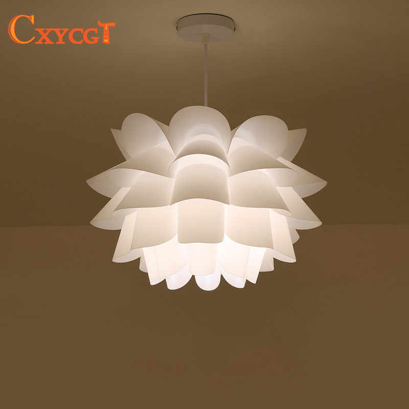 Diy Lily Lotus Iq Puzzle Pendant Lampshade E27 Pendant Light Cafe Restaurant Ceiling Room Decoration Led Hanging Lamp