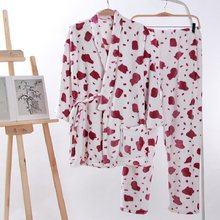 Couples Winter Flannel Pajamas sets Japanese Kimono Homewear Printed Polka Dot Sleepwear V-Neck Robe Sexy Pyjama Hiver Femme(China)