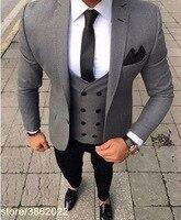 2018 Последние Пальто Пант дизайн итальянский черный мужской костюм классический смокинг Slim Fit 3 предмета Жених костюмы на заказ для выпускно