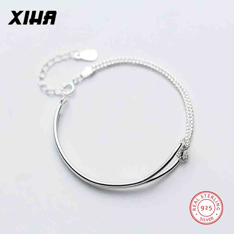 XIHA Fine Jewelry 925 Sterling Silver Bracelet Bangles Double Layered Simple Chain Adjustable Bracelet for Women Bridesmaid Gift