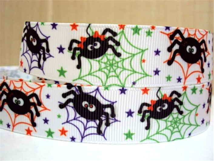 <font><b>7/8</b></font>''(22mm) <font><b>Halloween</b></font> holiday printed <font><b>ribbon</b></font> <font><b>Grosgrain</b></font> <font><b>ribbon</b></font>,DIY handmade materials,wedding gift wrap,50Yc1071 image