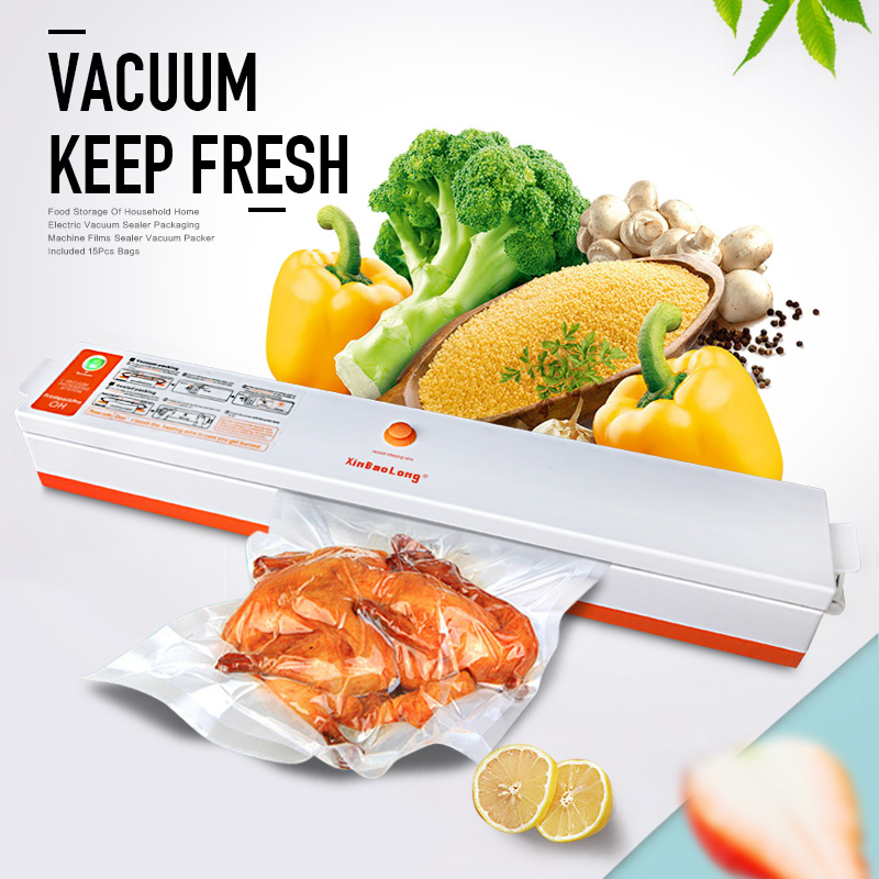 Household Food Vacuum Sealer Packaging Machine for Home Film Sealer Vacuum Packer Including 15Pcs Vacuum Sealer Storage Bags zonesun free express shipping household vacuum food packaging machine plastic film sealer plastic packaing machine