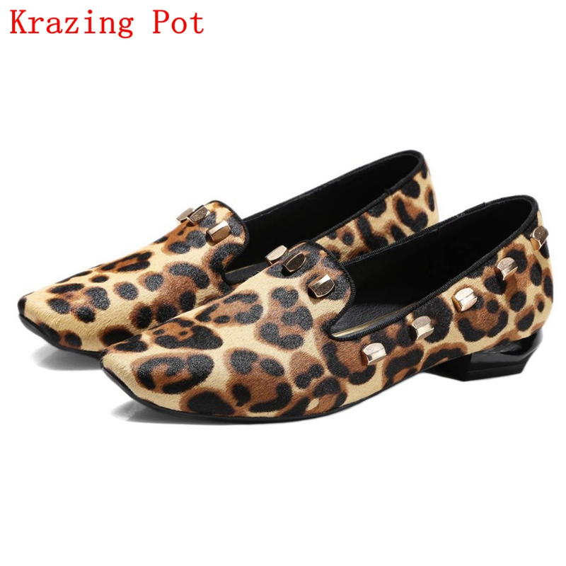 Fashion Big Size Brand Shoes Apricot Rivet Loafers Thick Heel Fur Women Pumps Round Toe Horse Hair Office Lady Causal Shoes L90 loafers fashion round toe slip on women pumps female high heel shoes girls floral top quality brand footwear big size 43