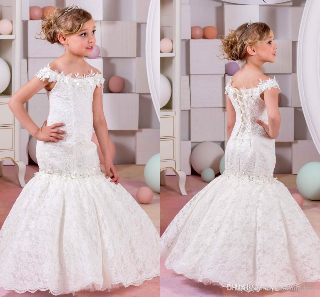 2016 Cupcake White Lace Mermaid Flower Girls Dresses for Weddings Off Shoulder Communion Dress Pageant Gown for Little Girl FG76