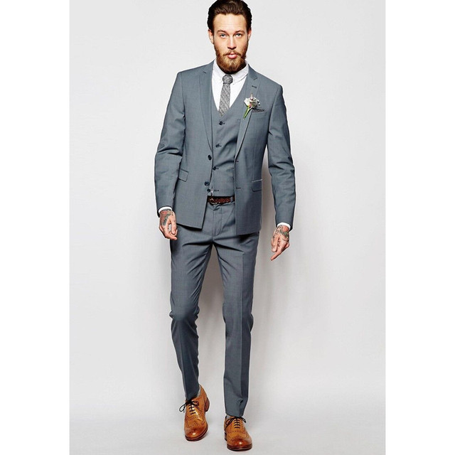 Custom Made Grey Men Suit Formal Skinny Simple Wedding Suits Modern ...