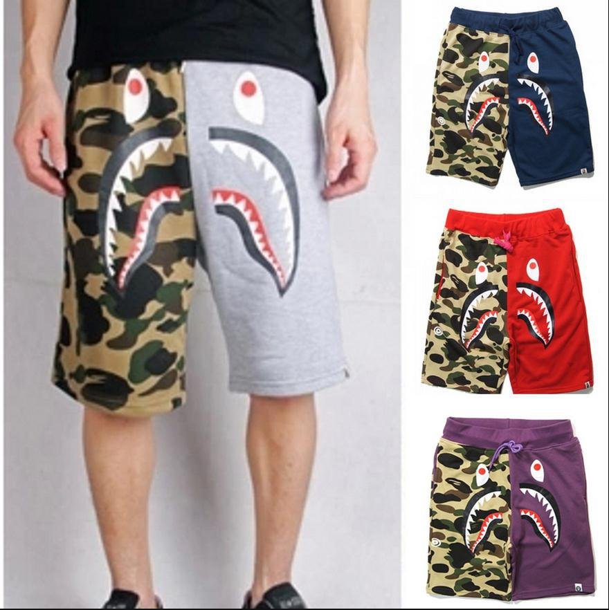 2015 brand Aape spoof shark camouflage splicing recreational shorts bape shark shorts cargo ...