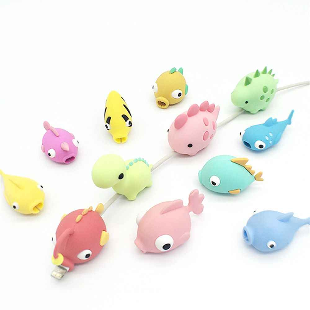 Cute Fish Cable Bite Kawaii Cable Protector Office USB Winder Wire Line Organizer Holder Korean Desk Set Accessories Stationary