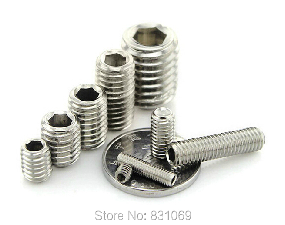 200pcs/Lot Metric Thread <font><b>M3x4mm</b></font> Stainless Steel Hex Socket Set Grub Screw Flat Head Brand New image