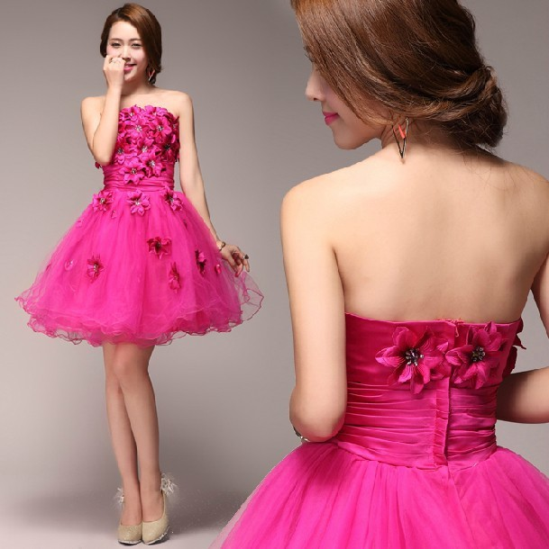 Fuschia Tulle Mini Wedding Dresses Strapless Appliques Short Vestido ...