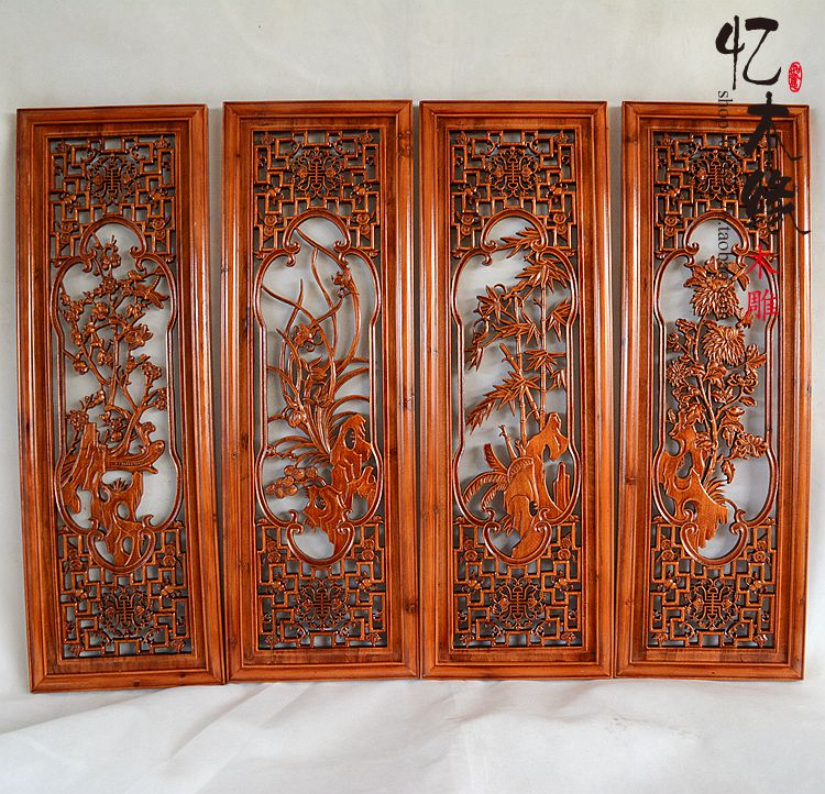 Dongyang woodcarving meilanzhuju four screen hanging wall carving Pendant wood carving mural room camphor dongyang woodcarving camphor wood furniture wood carved camphorwood box suitcase box antique calligraphy collection box insect d