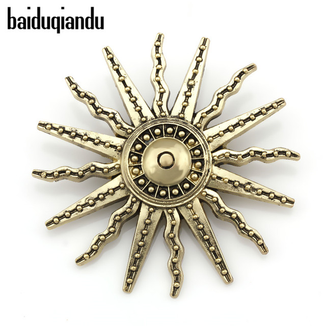 Factory Direct Sale Vintage Style Sun Brooch Pins for Men or Women in Antique Br