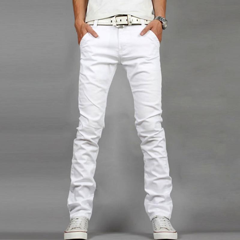Fashion Mens jeans Designed Straight Slim Fit Denim Jeans Trousers Casual elasticity denim Pants White Homme plus size 28-40