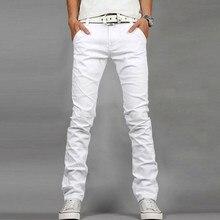 ФОТО fashion mens jeans designed straight slim fit denim jeans trousers casual elasticity denim pants white homme plus size 28-40