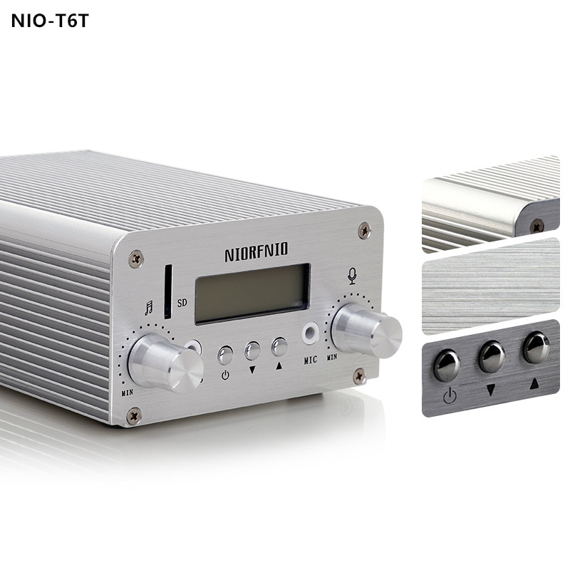 Free Shipping NIO-T6T 6W Professional High Quality Stereo PLL Transmitter Equipment with TF Card Supported free shipping nio t6t 1w 6w stereo audio fm amplifier kit professional transmitter with tf card