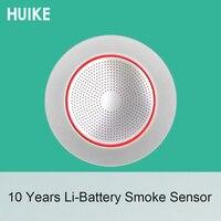 1 PCS 10 Years Life Lithium Battery GSM Alarm System Accessories Wireless 433MHz Smoke Alarm Sensor