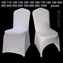 1 pièce en gros couleur blanche universel extensible Polyester fête de mariage Spandex chaise couverture