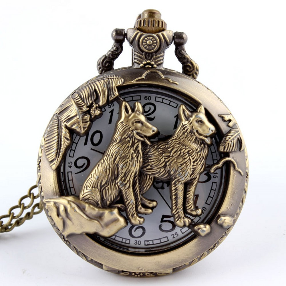 Vintage Bronze Wolf Hollow Design Quartz Pocket Watch Men Women Necklace Pendant FOB Chain Steampunk Pocket Watches Reloj De