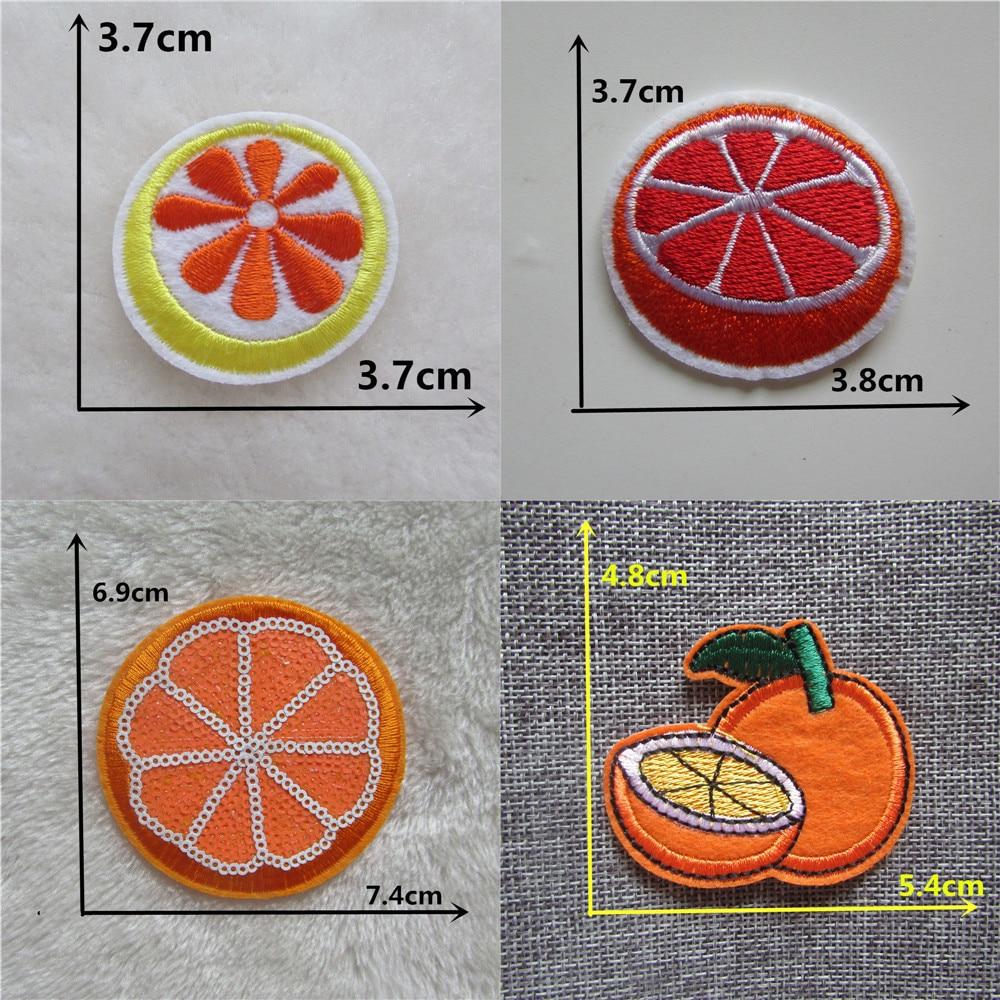 Embroidered Iron On Applique Patch Citrus Fruit Orange