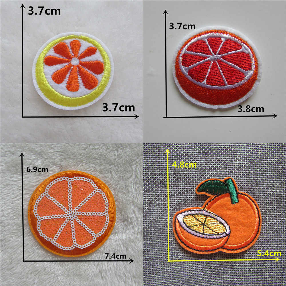 Cute 1pc Orange Embroidery thermo-stickers Patches for Clothing Sequins Stripes Iron on Clothing bag hat Appliques fruits Badge