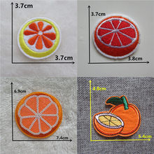 Cute 1pc Orange Embroidery thermo-stickers Patches for Clothing Sequins Stripes Iron on Clothing bag hat Appliques fruits Badge(China)