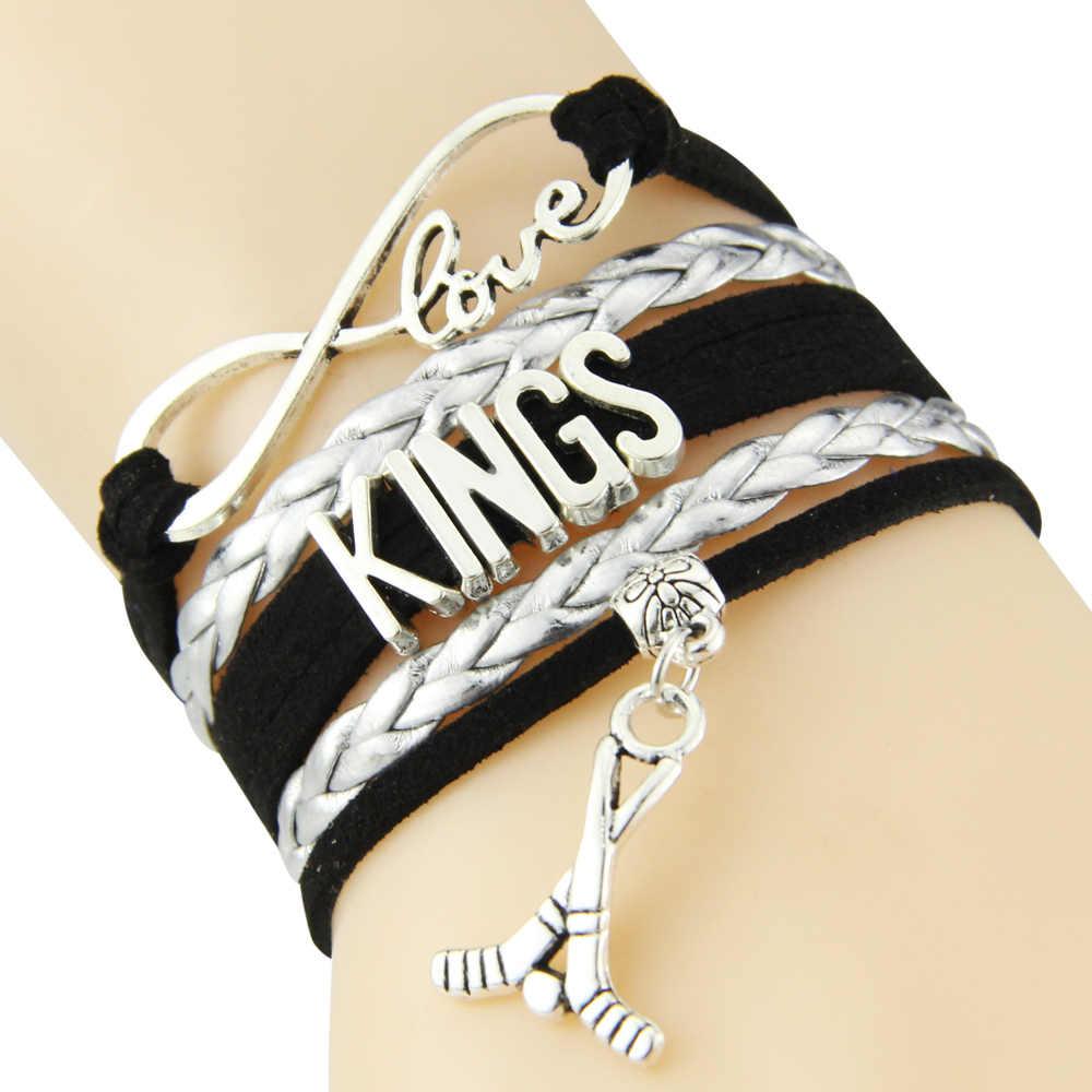 Pulsera de cadena de amor infinito Reyes cordón negro y plata Golf Dropshipping. exclusivo.