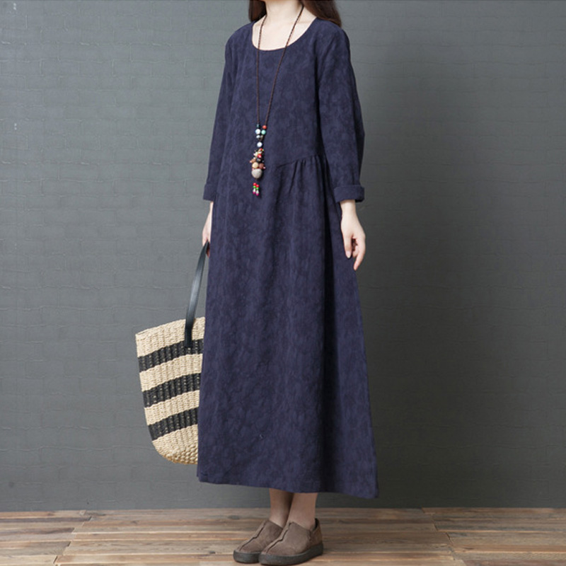 Vintage Dress Jacquard Robes For Women Spring New O-Neck Long Sleeve Chinese Style Soft Women Cloths Cotton Dress