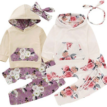 Get more info on the 2018 Hot Sale Infant Kids Autumn Spring Toddler Baby Girl Outfits Hoodie Tops T-shirt+Pants Floral Clothing 3PC Set Fashion