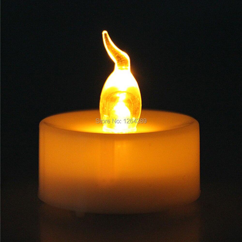 100 sztuk boże narodzenie Flameless LED bursztynowy żółty baterii herbata światło świece Tealight Tea Party świeca ślubna w Świece od Dom i ogród na  Grupa 3