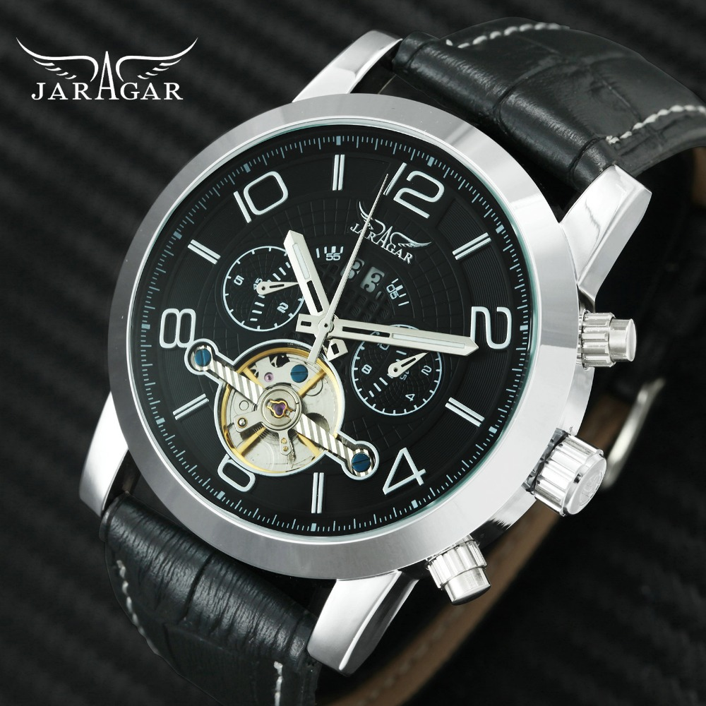 2018 JARAGAR Dress Auto Mechanical Mens Watches Top Brand Luxury Skeleton Tourbillon Wrist Watch Men Genuine Leather Strap Clock winner mens watches top brand luxury leather strap skeleton skull auto mechanical fashion steampunk wrist watch men gift box
