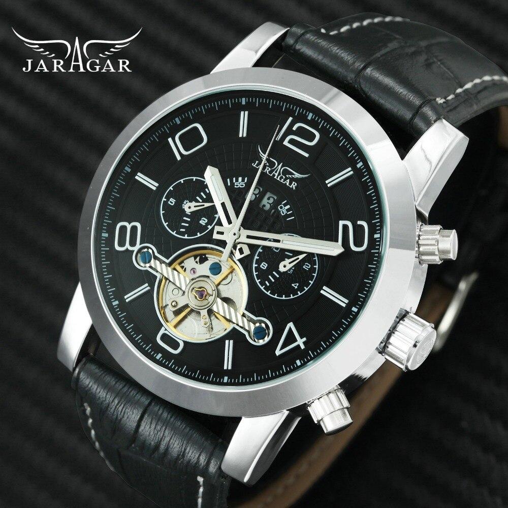 2018 JARAGAR Robe Auto Mécanique Mens Montres Haut Marque De Luxe Squelette Tourbillon Montre-Bracelet Hommes Véritable Bracelet En Cuir Horloge