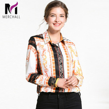 Merchall New Spring Fashion Runway Designer Womens Tops and Blouses Long Sleeve Retro Floral Print Vintage Office Shirt