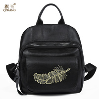 Qiwang Embroidery Feather Backpack Women Genuine Leaher Backpack Girls School Bags Fashion Back Pack 2017 New