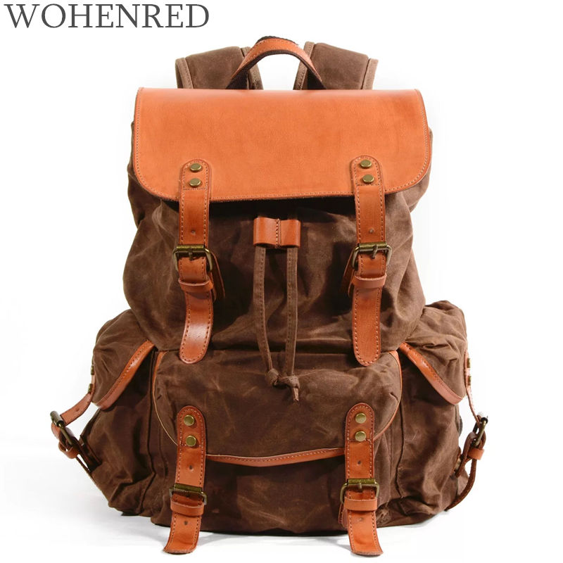 Luxury Oil Wax Canvas Backpack Male Leather Travel Rucksacks Large Capacity Vintage Shoulder School Bag Men