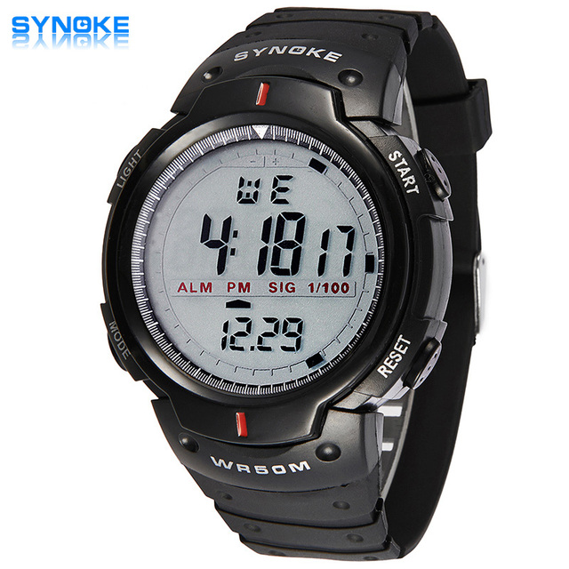 2016 Luxury Sport Watch Men SYNOKE Brand LED Watches Black Silicone Clock Waterproof Digital Watch Boy Gift Relogio Masculino