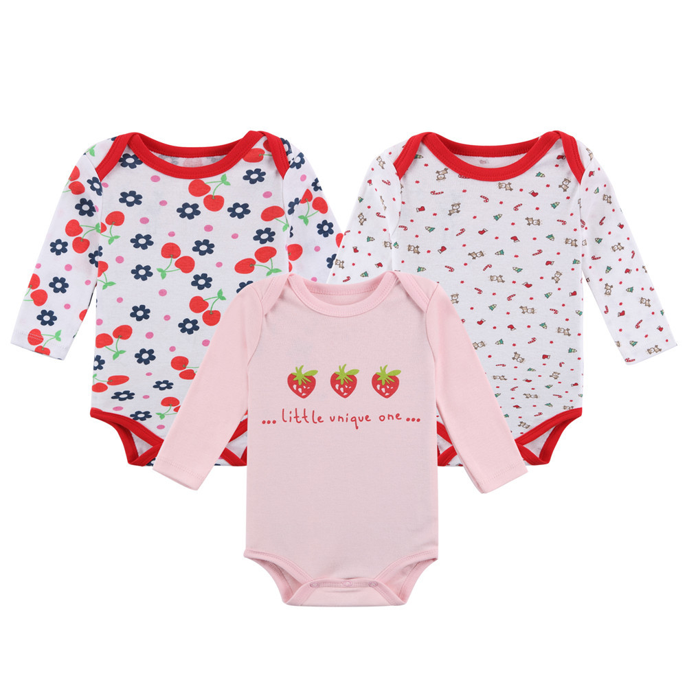 Mother Nest2017 Newborn100 Cotton 3 Pieces lot Baby Bodysuit Body Suit Baby full Sleeve Underwear Girl