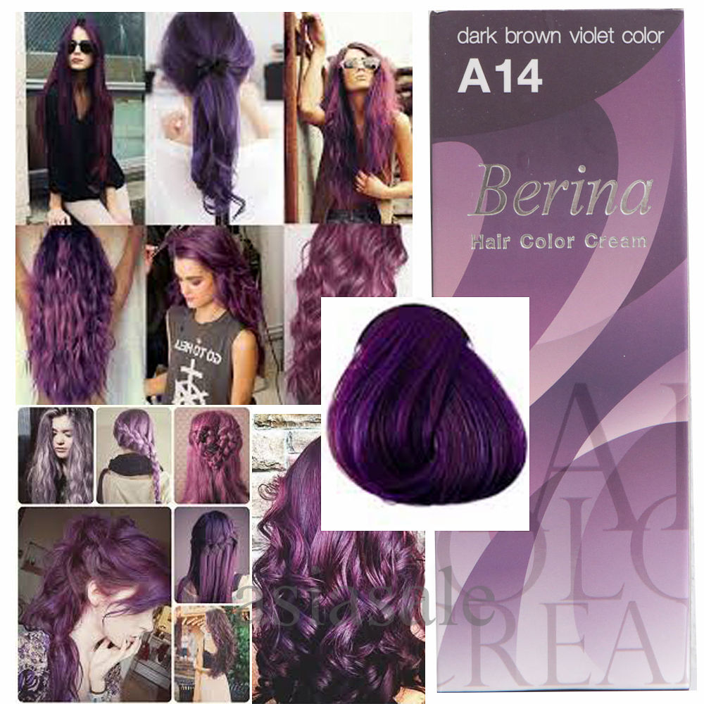 Berina Hair A14 Dye Color Dark Brown Violet Fashion Professional Use