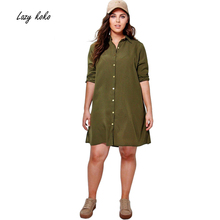 Lazy KoKo Plus Size New Fashion Women Clothing Casual Solid Embroidery Dress Long Sleeve Big Size Dress 3XL 4XL 5XL 6XL