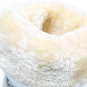 Image 5 - Stivali alti delle donne di inverno scarpe stile femminile argento di colore di modo pieno di grande formato caldo peluche antiscivolo suola piatta Diritta superiore