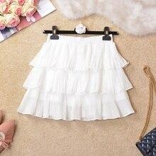 NiceMix 2019 spring autumn skirts new sweet fresh solid color cascading ruffles mesh high waist pleated mini cake women