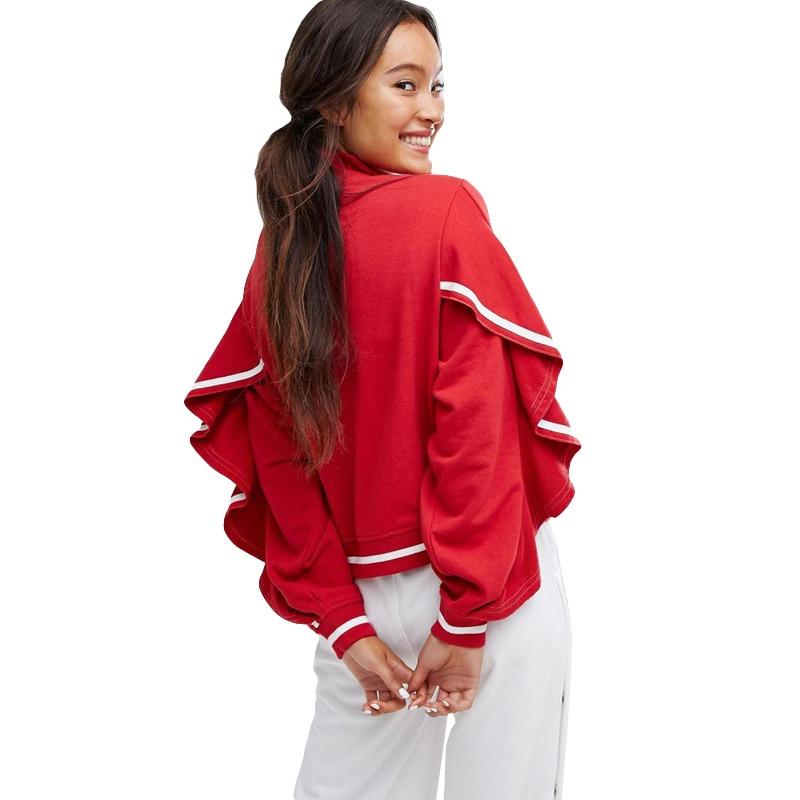 Europe Style 2018 New Women s Spring Zipper Cardigan font b Jackets b font Ruffles Bat