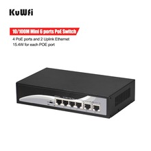 100 100mbpsのpoe対応スイッチ6ポート48vイーサネットネットワークスイッチ高速スイッチング4PoEポート2アップリンクとイーサネットのサポートmdi/mdix