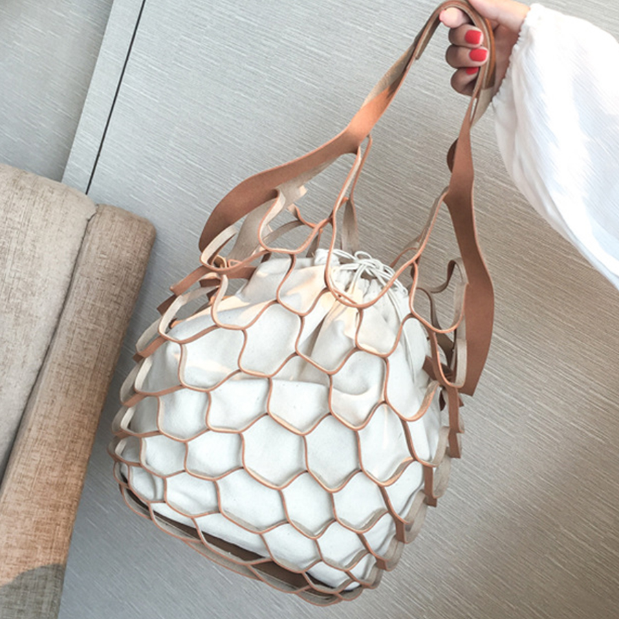 Hollow Out Mesh Design Women Handbags Net Canvas Composite Bag Ladies Drawstring Tote Famous Brands Casual Beach Bags Summer New unique design women leather canvas women big tote bag knit hollow out basket bag lady brown shopping bucket bags famous designer