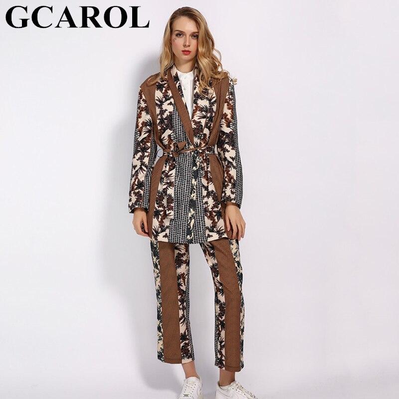 GCAROL 2019 Women sets Jungle Floral Long Suit Ankle Length Pants Elastic Waist 2 Pcs Blazer
