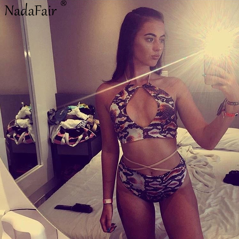 3a40287add9ec NadaFair 2018 Snakeskin Print Bandage Halter Bikini Push Up Sexy Swimwear  Women Swimsuit-in Bikinis Set from Sports   Entertainment on Aliexpress.com  ...