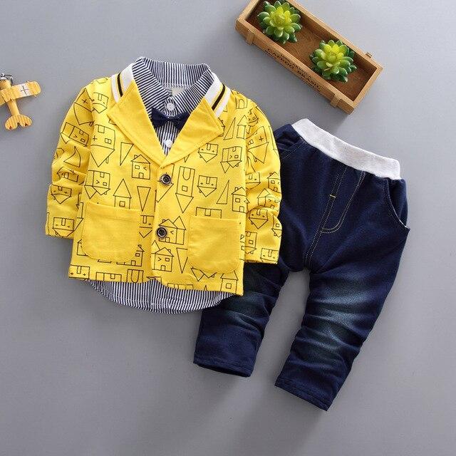 Ragazzi del bambino abbigliamento 3 pezzi/set di usura dei bambini versione Coreana caduta abbigliamento casa di stampa giacca + t shirt + jeans del bambino vestito