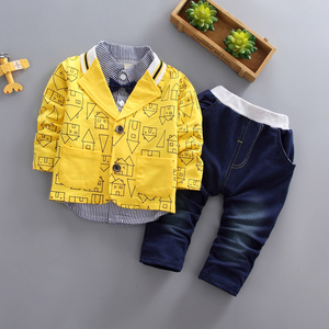 Image 1 - toddler boys clothing 3 pieces/set childrens wear Korean version fall clothing house print jacket + t shirt + jeans baby suit