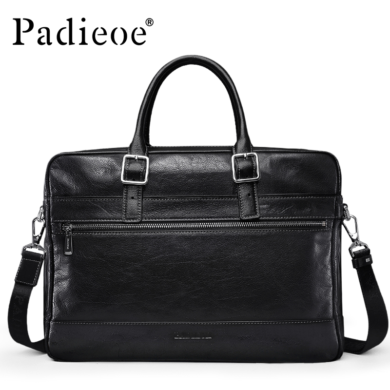 Padieoe Men's Genuine Leather Vintage Briefcase Casual Laptop bag male Business Durable Cow Leather Male Tote Bags Shoulder bag